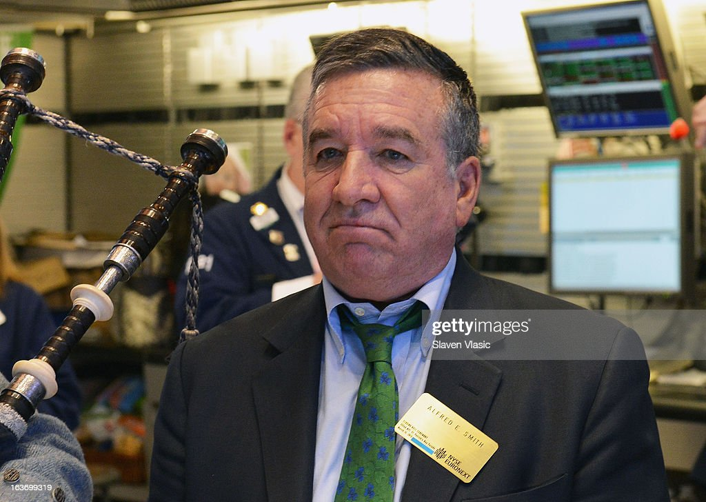 Alfred E. Smith IV, Grand Marshal of the 252nd St. PatrickÕs Day Parade visits the floor of New York Stock Exchange in honor of St. PatrickÕs Day on March 14, 2013 in New York City.