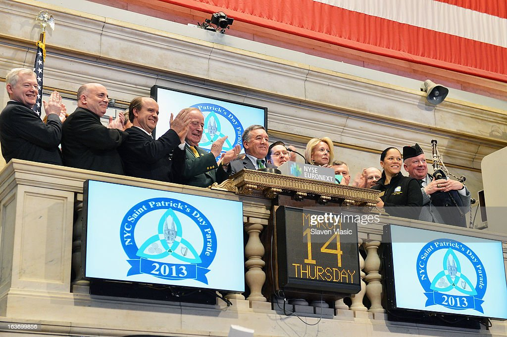 Alfred E. Smith IV (C), Grand Marshal of the 252nd St. PatrickÕs Day Parade, joined by Parade Committee members rings the closing bell in honor of St. PatrickÕs Day at the New York Stock Exchange on March 14, 2013 in New York City.