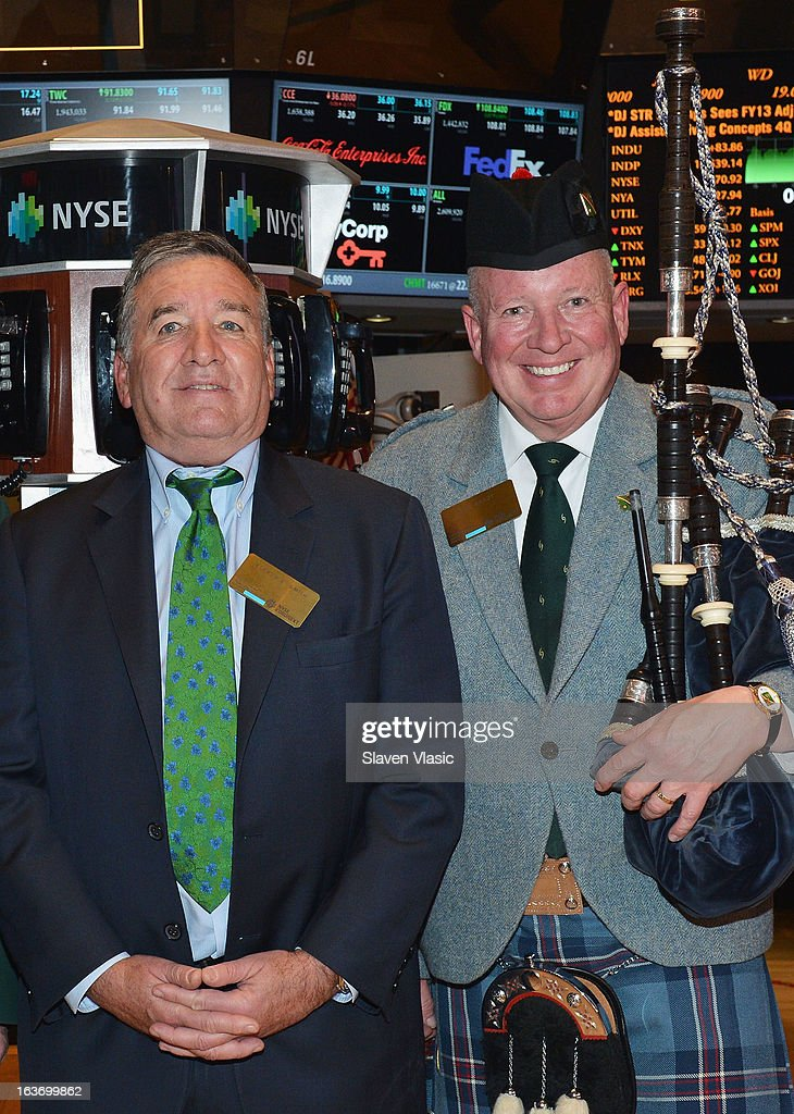 Alfred E. Smith IV (L), Grand Marshal of the 252nd St. PatrickÕs Day Parade and Joe Brady visit the trading floor of the New York Stock Exchange in honor of St. PatrickÕs Day on March 14, 2013 in New York City.
