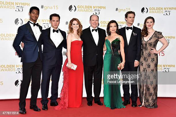 Alfred Enoch Matt McGorry Sarah Drew Prince Albert of Monaco MingNa Wen Matthew Gray Gubler and Hayley Atwell attend the closing ceremony of the 55th...