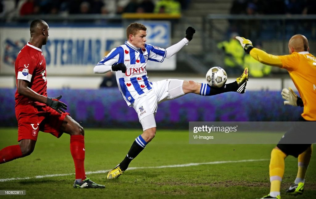 Alfred Finnbogason (C) during the Dutch Eredivisie Match between SC Heerenveen and FC Twente at the Abe Lenstra Stadium on february 23, 2013 in Heerenveen, The Netherlands
