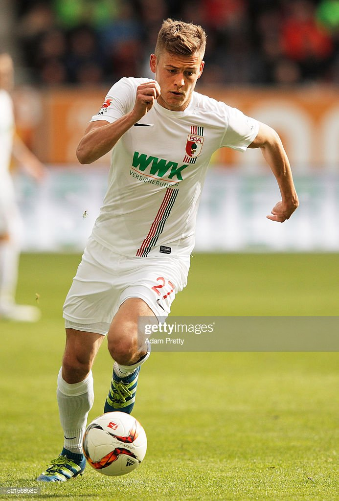 Alfred Finnbogason of Augsburg in action during the Bundesliga match between FC Augsburg and VfB Stuttgart at WWK Arena on April 16, 2016 in Augsburg, Germany.