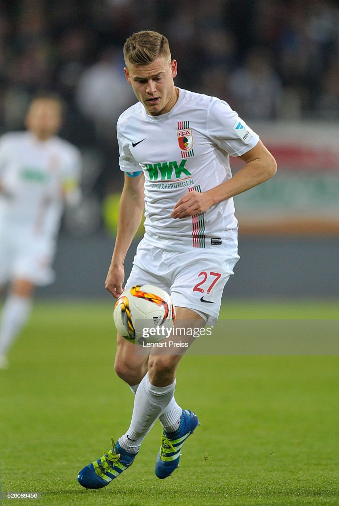 Alfred Finnbogason of FC Augsburg in action during the Bundesliga match between FC Augsburg and 1. FC Koeln at WWK Arena on April 29, 2016 in Augsburg, Germany.