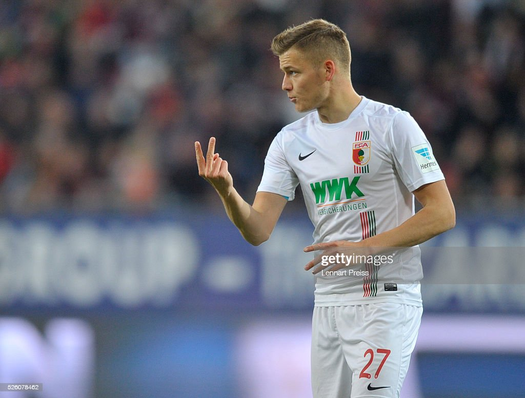 Alfred Finnbogason of FC Augsburg reacts during the Bundesliga match between FC Augsburg and 1. FC Koeln at WWK Arena on April 29, 2016 in Augsburg, Germany.