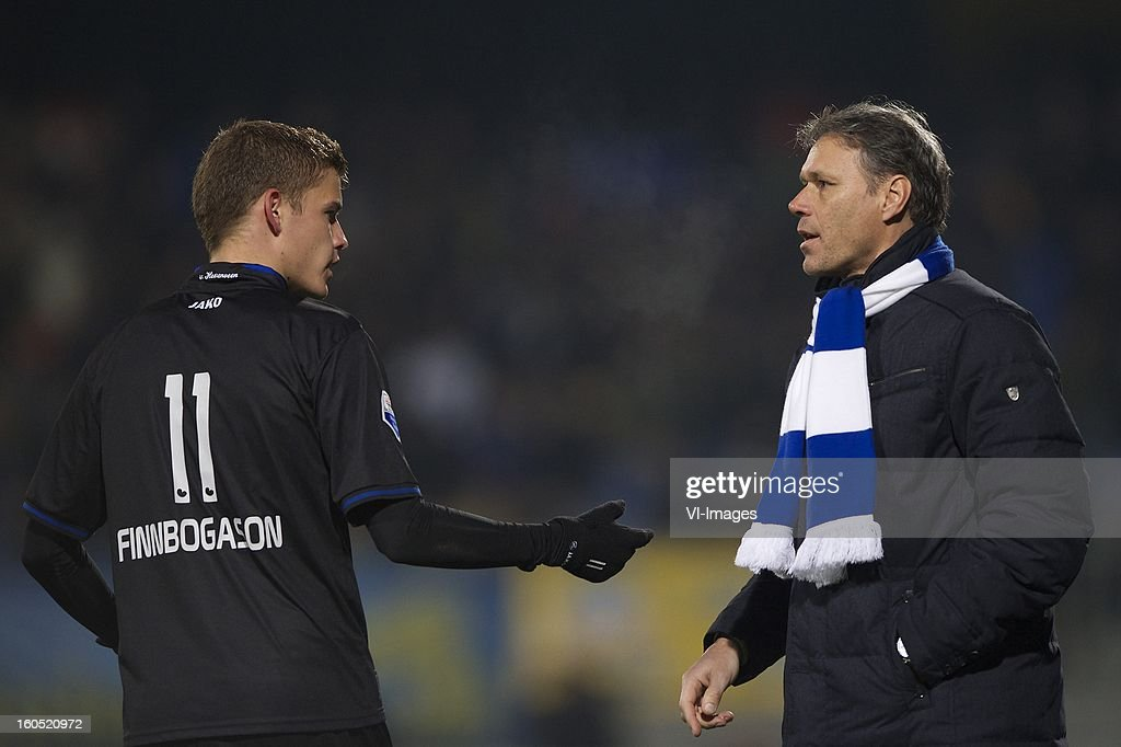 Alfred Finnbogason of Heerenveen, coach Marco van Basten of Heerenveen during the Dutch Eredivisie match between RKC Waalwijk and SC Heerenveen at the Mandemakers Stadium on february 1, 2013 in Waalwijk, The Netherlands
