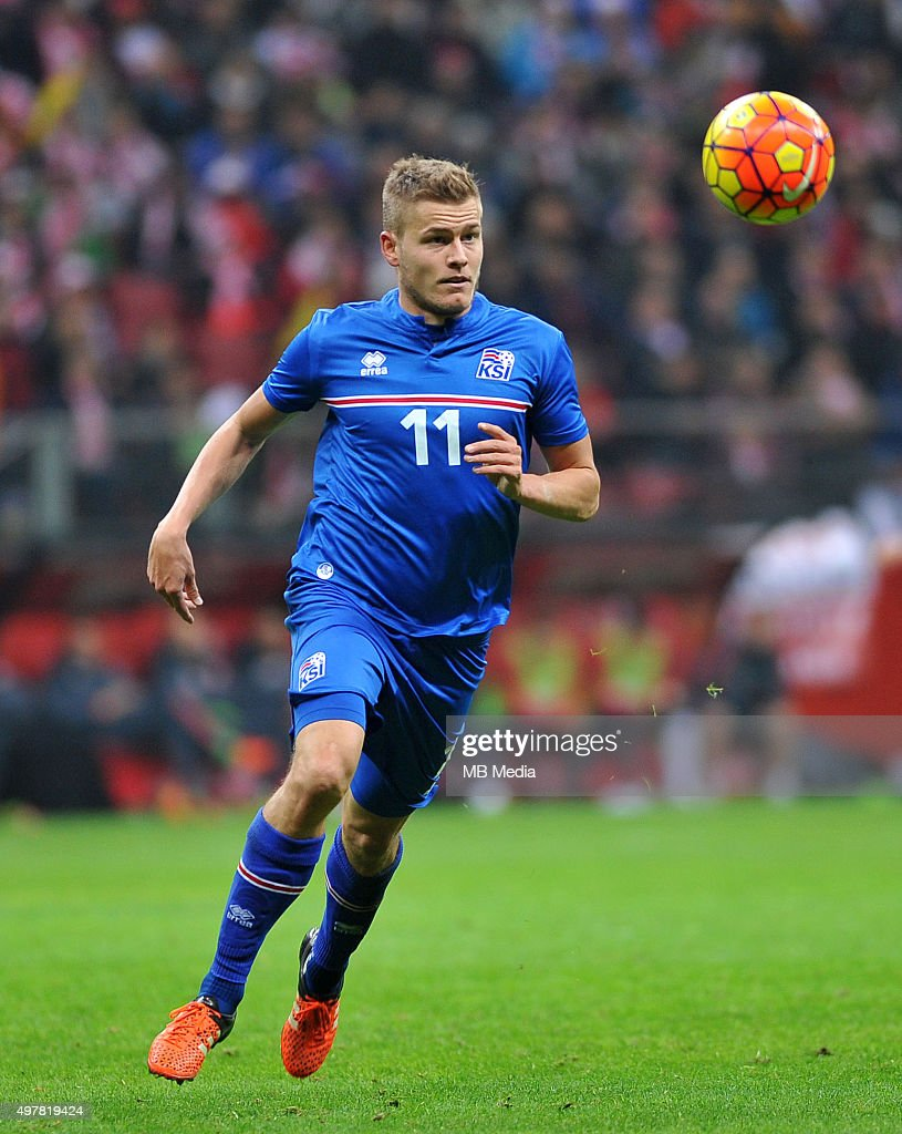 Alfred Finnbogason of Iceland in action during the international friendly match against Poland on November 13, 2015 in Warsaw,Poland.