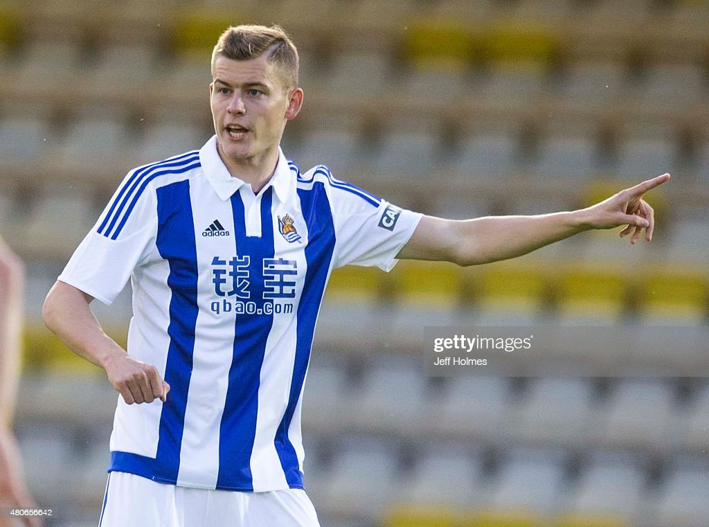 Alfred Finnbogason of Real Sociedad in action at the Pre Season Friendly between Livingston and Real Sociedad at the City Stadium on July 13th, 2015 in Livingston, Scotland.