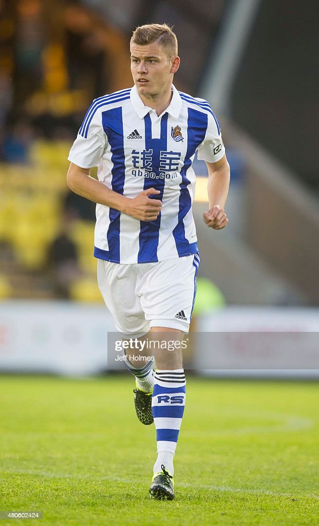 Alfred Finnbogason of Real Sociedad in action during the Pre Season Friendly between Livingston and Real Sociedad at the City Stadium on July 13th, 2015 in Livingston, Scotland.