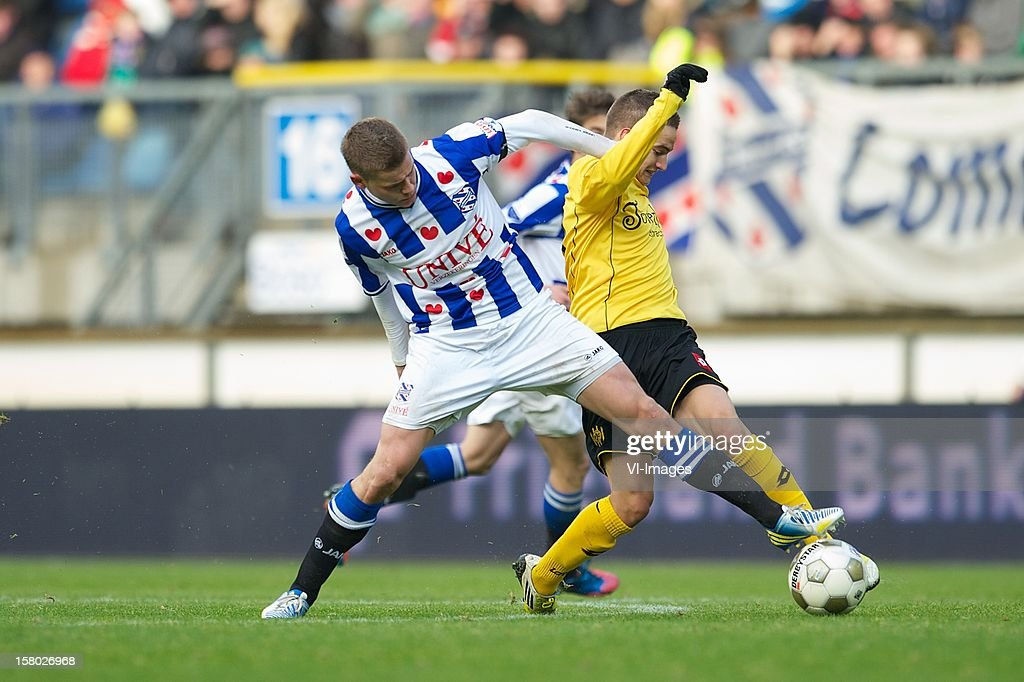 Alfred Finnbogason of SC Heerenveen, Amin Affane of Roda JC Kerkrade during the Dutch Eredivisie match between SC Heerenveen and Roda JC Kerkrade at the Abe Lenstra Stadium on December 09, 2012 in Heerenveen, The Netherlands.