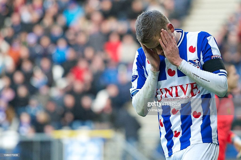 Alfred Finnbogason of SC Heerenveen during the Dutch Eredivisie match between SC Heerenveen and Roda JC Kerkrade at the Abe Lenstra Stadium on December 09, 2012 in Heerenveen, The Netherlands.