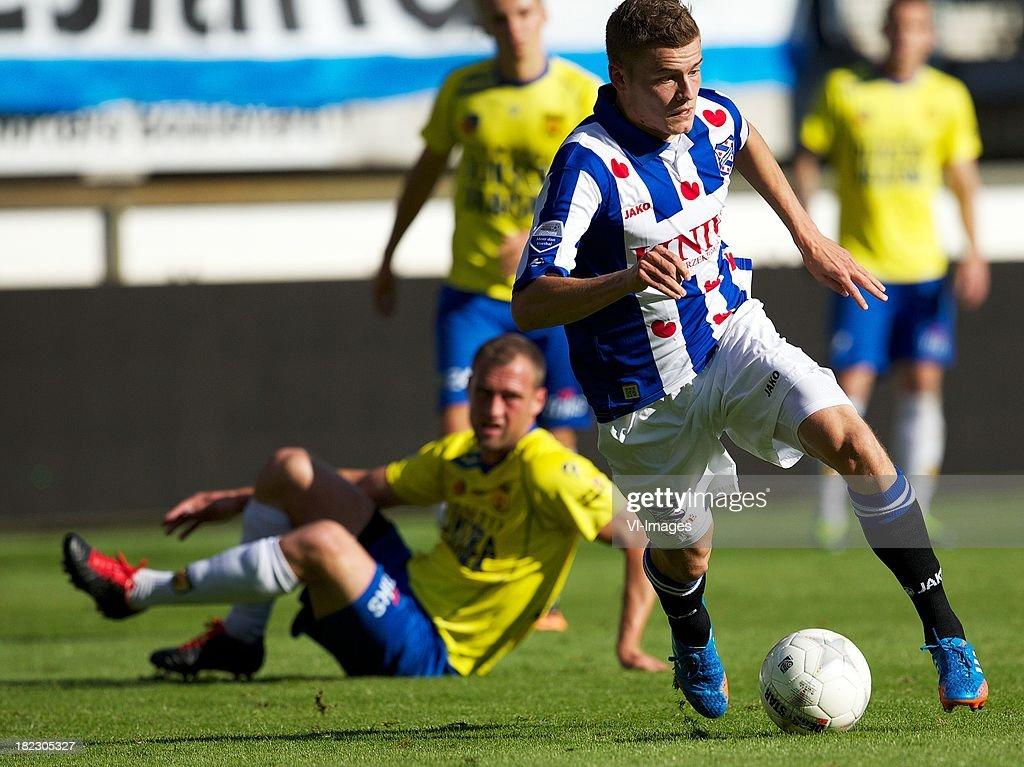 Alfred Finnbogason of sc Heerenveen during the Dutch Eredivisie match between sc Heerenveen and SC Cambuur Leeuwarden on September 29, 2013 at the Abe Lenstra stadium in Heerenveen, The Netherlands.