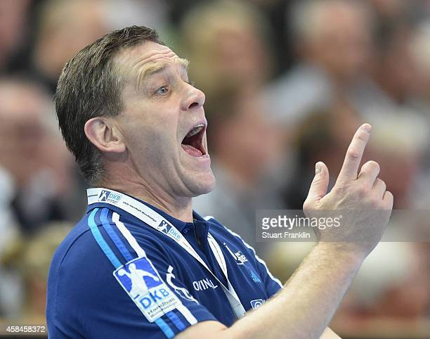 Alfred Gislason head coach of Kiel gestures during the DKB Bundesliga handball match between THW Kiel and SC Magdeburg at Sparkassen Arena on...
