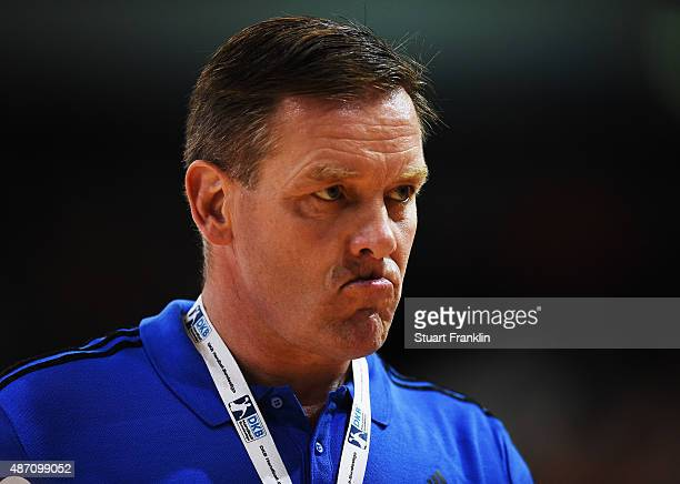 Alfred Gislason head coach of Kiel looks unhappy during the DKB Handball Bundeslga match between SG FlensburgHandewitt and THW Kiel at FlensArena on...