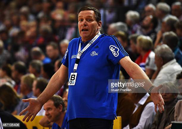 Alfred Gislason head coach of Kiel reacts during the DKB Handball Bundeslga match between SG FlensburgHandewitt and THW Kiel at FlensArena on...