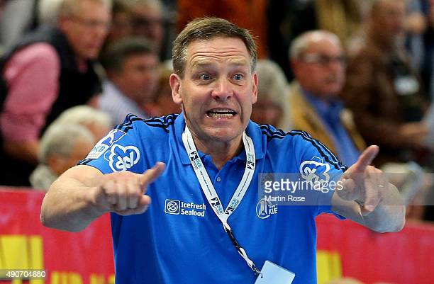 Alfred Gislason head coach of Kiel reacts during the DKB HBL Bundesliga match between THW Kiel and Bergischer HC at Sparkassen Arena on September 30...