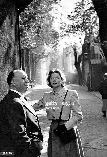 Alfred Hitchcock takes Ingrid Bergman around London during the shooting of the film 'Under Capricorn' Original Publication Picture Post 4652 Ingrid's...