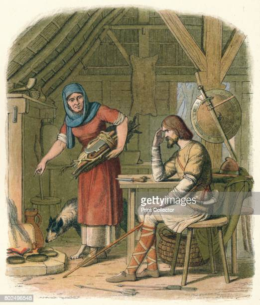 Alfred in the neatherd's cottage' 1864 King Alfred the Great was King of Wessex from 871 to 899 Here sitting in a cottage he is interrupted by the...