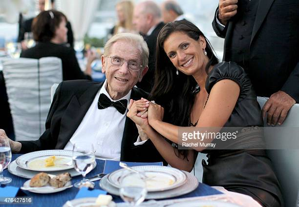 Alfred Mann and Veronica Berti attend dinner during Alfred Mann Foundation's an Evening Under The Stars with Andrea Bocelli on June 8 2015 in Los...