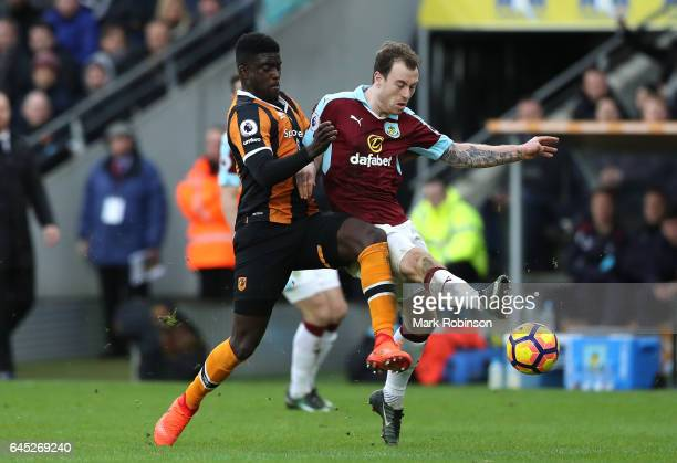 Alfred N'Diaye of Hull City and Ashley Barnes of Burnley battle for possession during the Premier League match between Hull City and Burnley at KCOM...