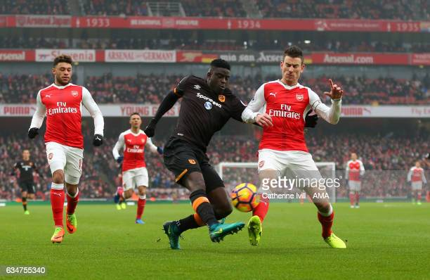 Alfred N'Diaye of Hull City and Laurent Koscielny of Arsenal during the Premier League match between Arsenal and Hull City at Emirates Stadium on...