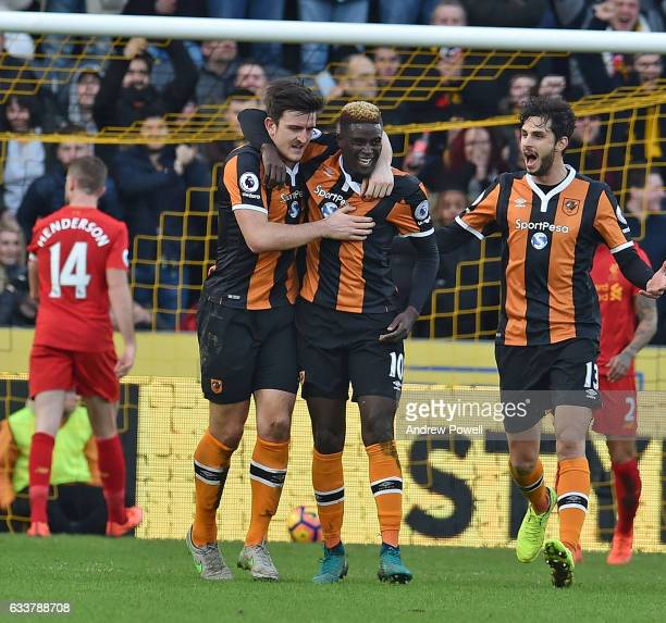 Alfred N'Diaye of Hull City Celebrates after scoring during the Premier League match between Hull City and Liverpool at KCOM Stadium on February 4...