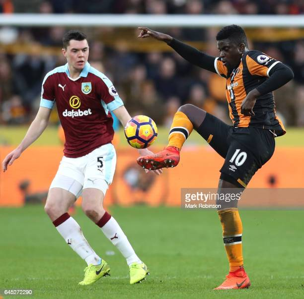 Alfred N'Diaye of Hull City controls the ball during the Premier League match between Hull City and Burnley at KCOM Stadium on February 25 2017 in...