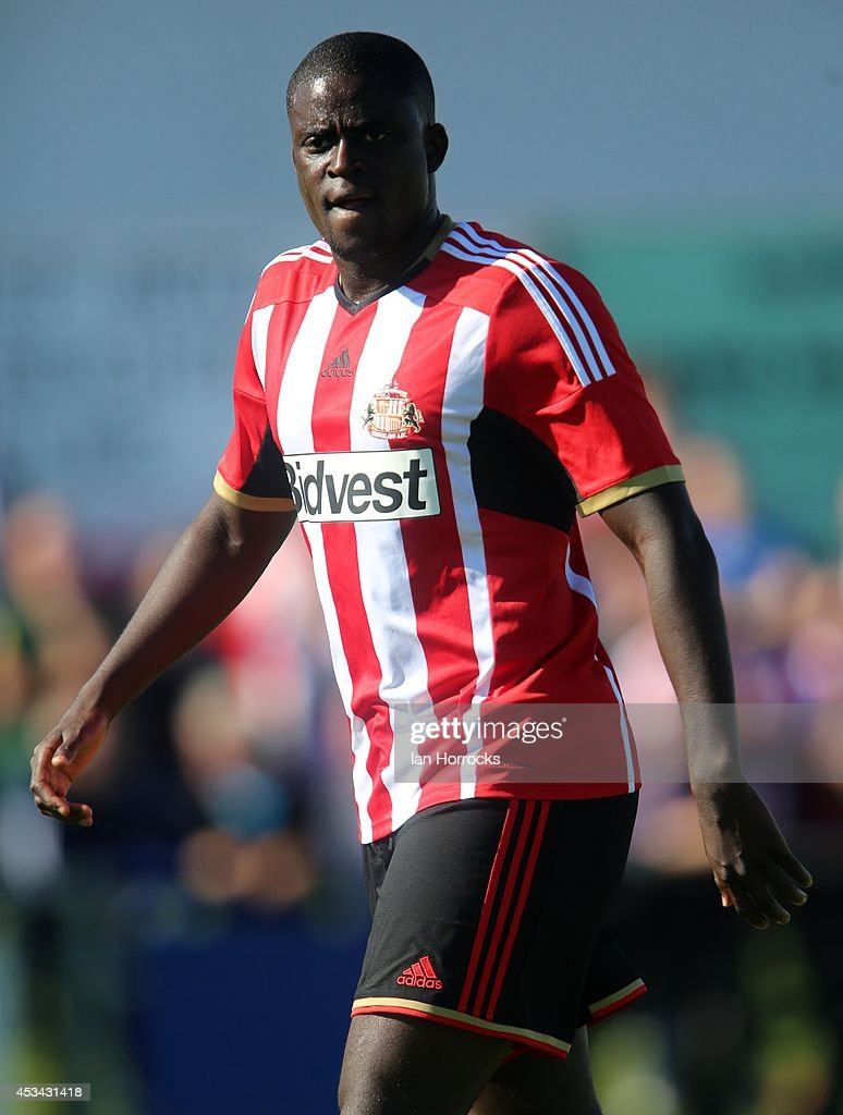 <a gi-track='captionPersonalityLinkClicked' href=/galleries/search?phrase=Alfred+N%27Diaye&family=editorial&specificpeople=5553791 ng-click='$event.stopPropagation()'>Alfred N'Diaye</a> of Sunderland during a pre-season friendly match between Sunderland AFC and Udinese at Heritage Park on August 09, 2014 in Bishop Auckland, England.