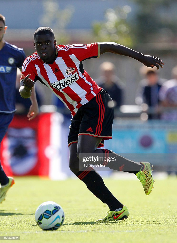 <a gi-track='captionPersonalityLinkClicked' href=/galleries/search?phrase=Alfred+N%27Diaye&family=editorial&specificpeople=5553791 ng-click='$event.stopPropagation()'>Alfred N'Diaye</a> of Sunderland in action during the pre-season friendly between Sunderland and Udinese at Heritage Park on August 09, 2014 in Bishop Auckland, England.