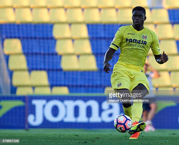 Alfred NDiaye of Villarreal in action during the friendly match between Villarreal CF and CD Hospitalet at Ciudad Deportiva of Miralcamp on July 16...