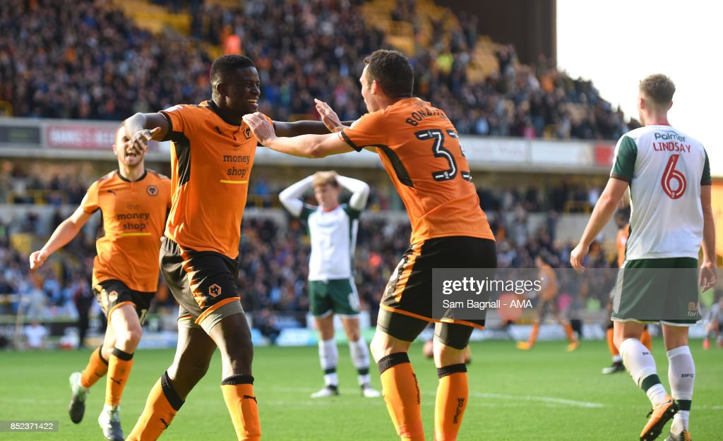 Alfred NDiaye of Wolverhampton Wanderers celebrates after scoring a goal to make it 2-1 during the Sky Bet Championship match between Wolverhampton and Barnsley at Molineux on September 23, 2017 in Wolverhampton, England.