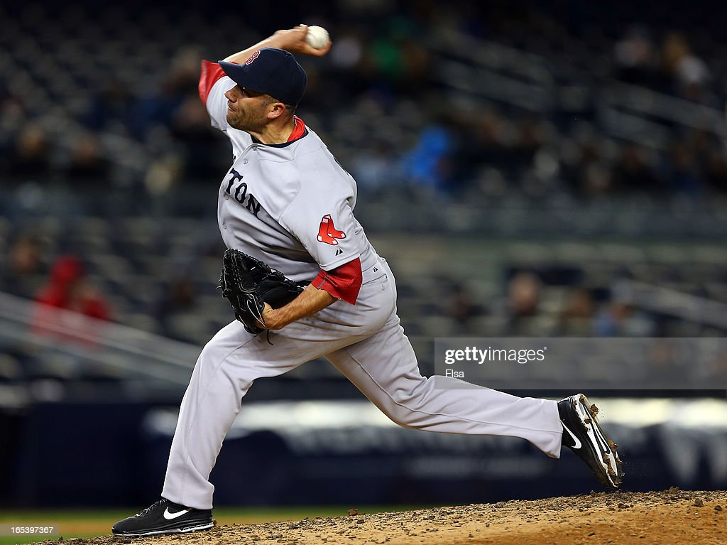 <a gi-track='captionPersonalityLinkClicked' href=/galleries/search?phrase=Alfredo+Aceves&family=editorial&specificpeople=5514493 ng-click='$event.stopPropagation()'>Alfredo Aceves</a> #91 of the Boston Red Sox delivers a pitch in the eighth inning against the New York Yankees on April 3, 2013 at Yankee Stadium in the Bronx borough of New York City.