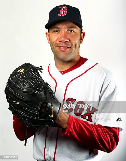 Alfredo Aceves of the Boston Red Sox poses for a portrait on February 17 2013 at JetBlue Park at Fenway South in Fort Myers Florida