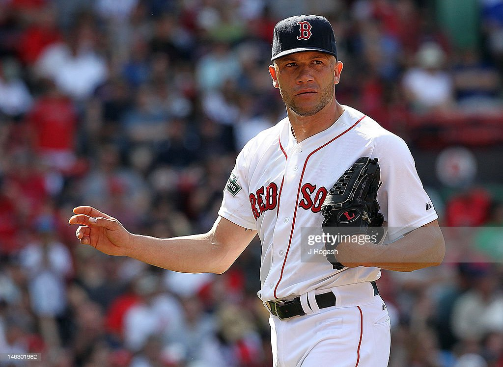 <a gi-track='captionPersonalityLinkClicked' href=/galleries/search?phrase=Alfredo+Aceves&family=editorial&specificpeople=5514493 ng-click='$event.stopPropagation()'>Alfredo Aceves</a> #91 of the Boston Red Sox reacts against the Washington Nationals during interleague play at Fenway Park June 10, 2012 in Boston, Massachusetts.