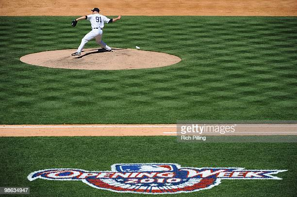 Alfredo Aceves of the New York Yankees pitches during the game against the Los Angeles Angels of Anaheim at Yankee Stadium in the Bronx New York on...