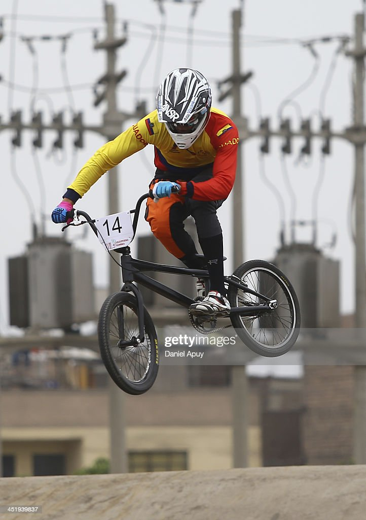 Alfredo Campo of Ecuador competes in BMX time trial Men«s final as part of the XVII Bolivarian Games Trujillo 2013 at Parque Huiracocha on November 25, 2013 in Lima, Peru.