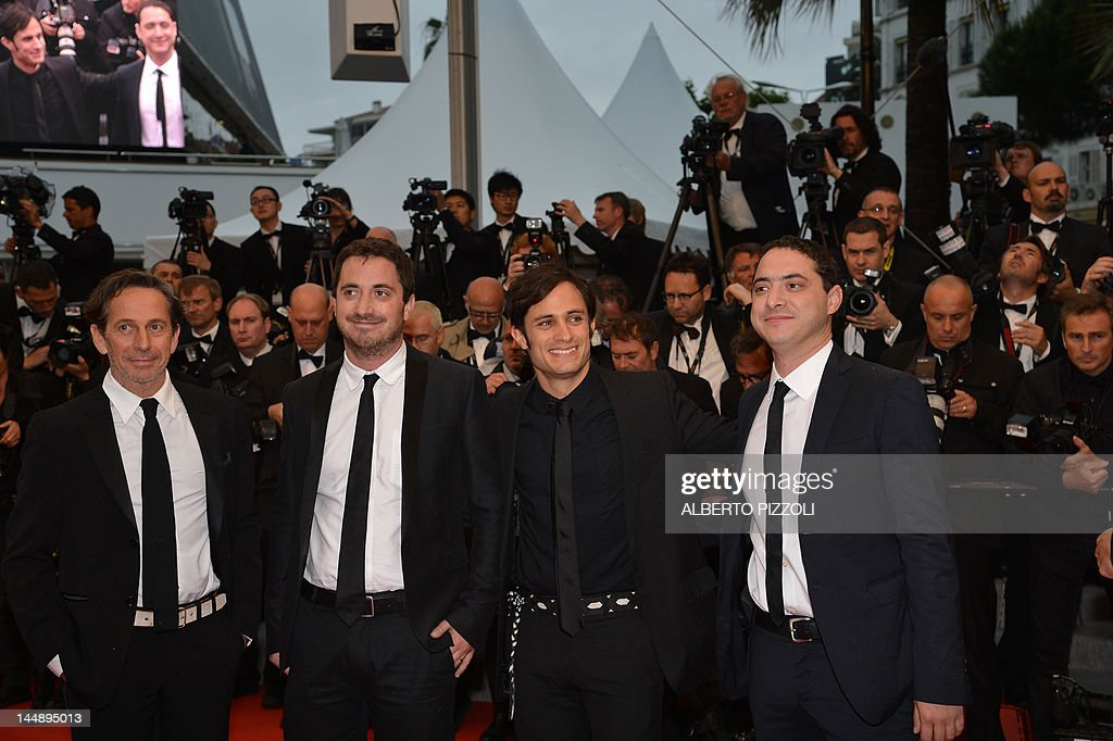 Alfredo Castro, director Pablo Larrain of Chile, Mexican actor Gael Garcia Bernal and Juan De Dios Larrain arrive for the screening of 'Amour' (Love) presented in competition at the 65th Cannes film festival on May 20, 2012 in Cannes.