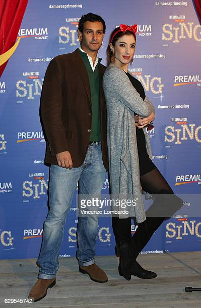 Alfredo Cicognani and Margherita Zanatta attend a photocall for 'Sing' on December 13 2016 in Milan Italy