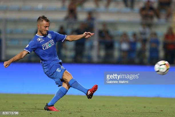 Alfredo Donnarumma of Empoli FC misses the penalty during the TIM Cup match between Empoli FC and Renate at Stadio Carlo Castellani on August 5 2017...