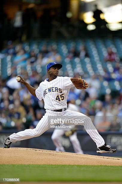 Alfredo Figaro of the Milwaukee Brewers pitches during the game against the Philadelphia Phillies at Miller Park on June 07 2013 in Milwaukee...
