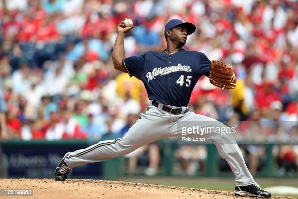 Alfredo Figaro of the Milwaukee Brewers pitches during the game against the Philadelphia Phillies at Citizens Bank Park on June 2 2013 in...