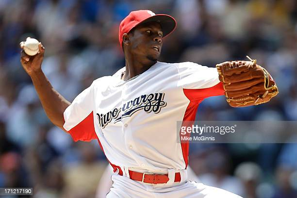 Alfredo Figaro of the Milwaukee Brewers pitches in the top of the first inning against the Atlanta Braves during the game at Miller Park on June 23...