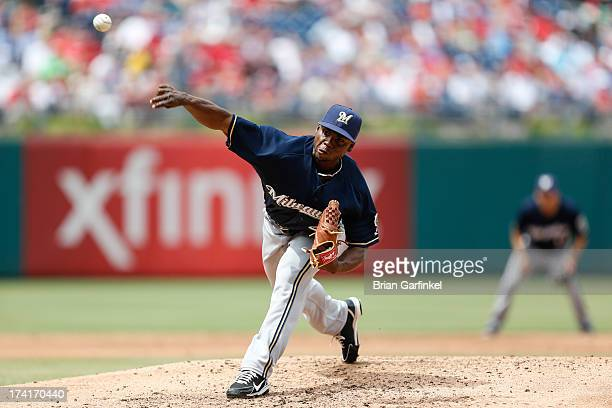 Alfredo Figaro of the Milwaukee Brewers throws a pitch during the game against the Philadelphia Phillies at Citizens Bank Park on June 2 2013 in...