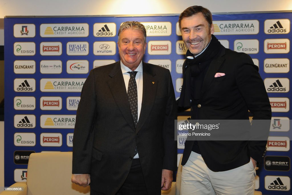 Alfredo Gavazzi (L) and Franck Mesnel attend a press conference at Stadio Olimpico on November 16, 2012 in Rome, Italy.
