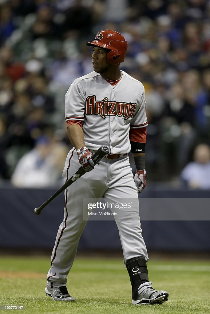 Alfredo Marte #17 of the Arizona Diamondbacks walks to the dugout after striking out against the Milwaukee Brewers during the top of bottom of the seventh inning at Miller Park on April 5, 2013 in Milwaukee, Wisconsin.