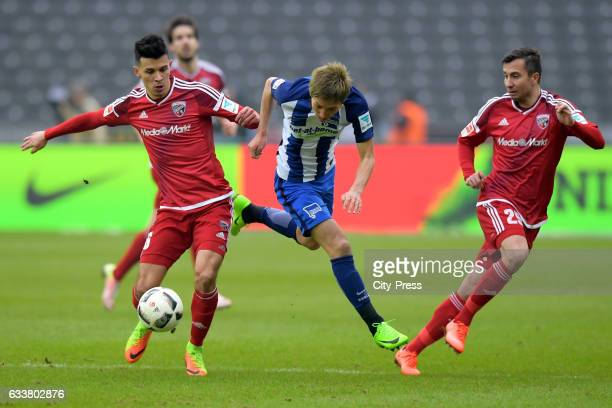 Alfredo Morales Genki Haraguchi of Hertha BSC and Markus Suttner of FC Ingolstadt 04 during the game between Hertha BSC and FC Ingolstadt 04 on...