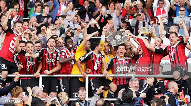 Alfredo Morales of FC Ingolstadt and team mates celebrate the winning the shield after the 2 Bundesliga match between FC Ingolstadt and RB Leipzig at...