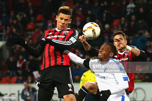 Alfredo Morales of Ingolstadt battles for the ball with Júnior Enrique Díaz Campbell of Darmstadt during the Bundesliga match between FC Ingolstadt...