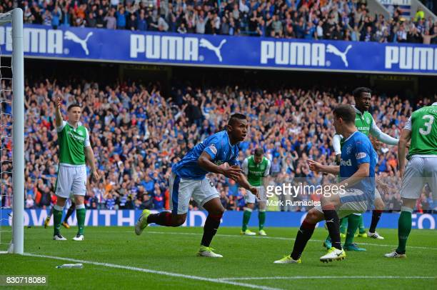 Alfredo Morelos of Rangers celebrates scoring the opening goal of the game with his team mates during the Ladbrokes Scottish Premiership match...