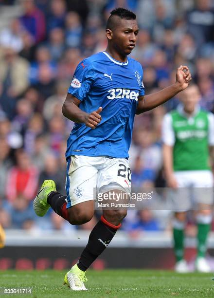 Alfredo Morelos of Rangers in action during the Ladbrokes Scottish Premiership match between Rangers and Hibernian at Ibrox Stadium on August 12 2017...
