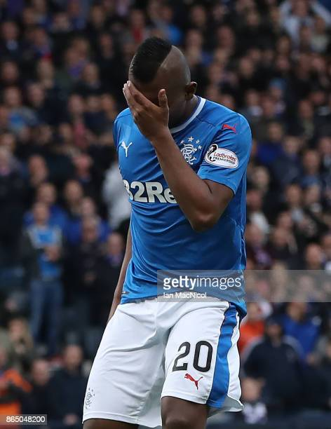 Alfredo Morelos of Rangers reacts during the Betfred League Cup Semi Final between Rangers and Motherwell at Hampden Park on October 22 2017 in...
